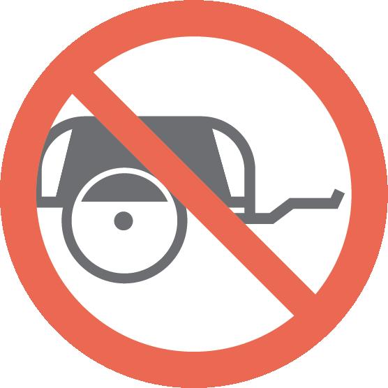 Interdiction: Pousser ou tirer: vélos, fauteuils roulants, remorques, etc.
