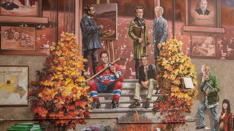 Murale du 150e anniversaire de la Ville de Victoriaville, avec Jean Béliveau