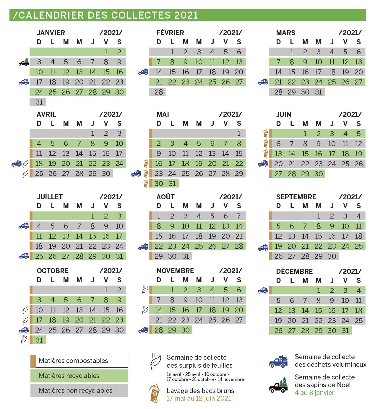 Calendrier des collectes de matières 2021 de la Ville de Victoriaville