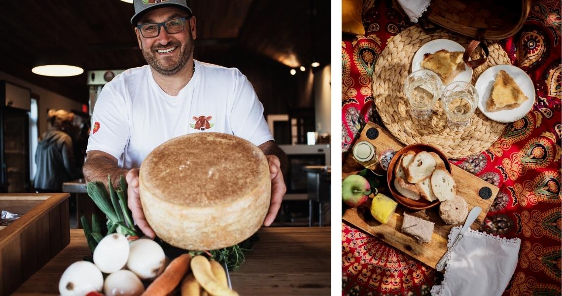 À gauche, Sébastien de Fromage Warwick et son fromage au lait de vache Jersey. À droite, les succulents produits du Verger Canard Goûteux. Crédits photos: Les Maximes