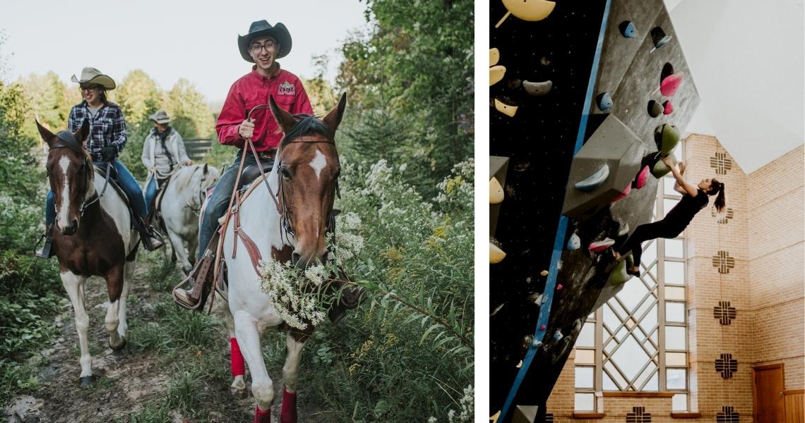 Offrez une sortie guidée à cheval au Ranch Kiméyan ou une initiation à l'escalade de bloc au Campus Escalade! Crédits photos: Les Maximes.